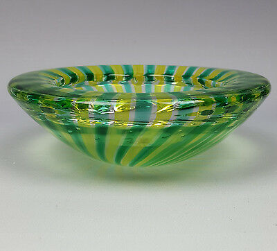 Vintage green and yellow striped chunky art glass bowl folded rim