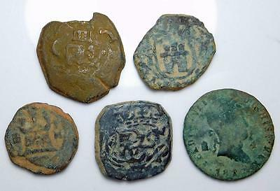 *HHC* SPAIN. Lot of 5, Maravedis, Some Countermarked (Inv #419)