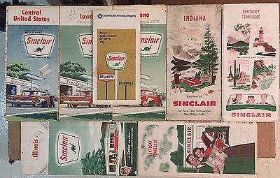 Lot of 8 Sinclair 1950's 1960's 1970's (?) Road Maps - Gas & Oil Advertising