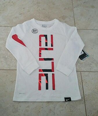 New Nike Dri Fit ELITE Youth Boys Graphic Long Sleeve Athletic T-Shirt X-Small