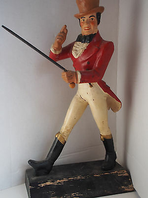 "14"" VTG Antique Carved Wood Johnnie Walker Figure Display Masters NY Whiskey Ad"