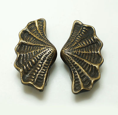 "3.62"" Inches Pair Vintage Scallop Shell Solid Brass Cabinet Door Handle Pull"