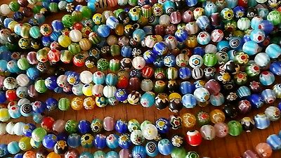 8mm round spacer beads Millefiori Glass  Flower  Lot of 20 strands approx 48 per