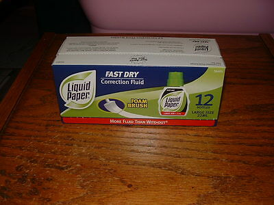 White out, Liquid Paper Fast Dry Correction Fluid, 22 ml Bottle, White, 12/Pack