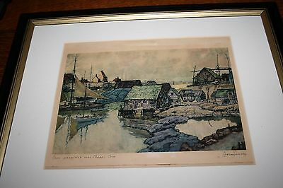 "Nicholas Hornyansky Etching Aquatint ""Grey Stragglers Over Peggy's Cove Signed"