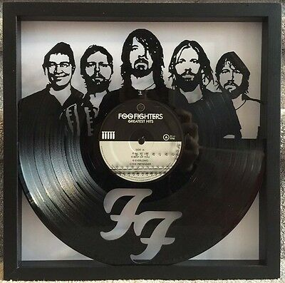 """Foo Fighters """"Greatest Hits"""" cut vinyl LP record framed art collectible gift"""