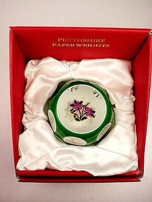 """Perthshire Paperweight """"double Overlay"""" Multi-Facet 1998 New Box Mint Cert. Rare"""