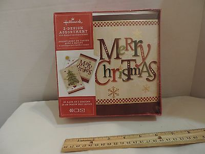 Hallmark Boxed Lot Of 40 Cards 2 Designs Christmas Tree & Merry Christmas