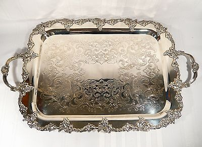 "GRAPE & VINE 25"" x 15"" Silver Plate TRAY Sheffield Reproduction Benedict Proctor"