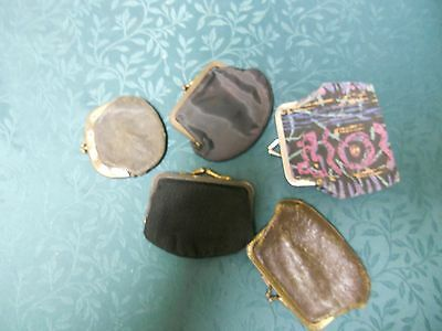 Vintage Lot of 5 Small Leather & Fabric Coin Purses