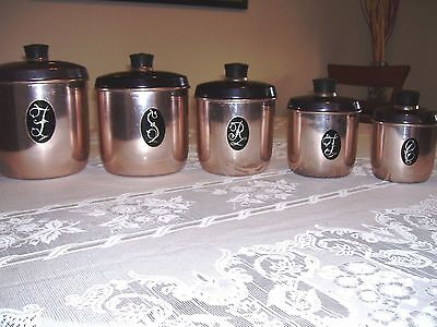VINTAGE 5 GOLD CANISTERS- ANODISED-MODEL MAID by JASON- 50yo