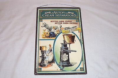 AXTON Cream Separators Tin Sign Vintage Dairy Farm Advertising Tacker
