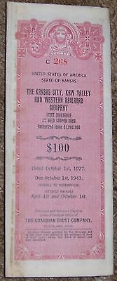1927 The Kansas City, Kaw Valley and Western Railroad Co. 4% Gold Bond