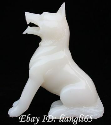 Chinese Natural White Jade Pure manual carve Zodiac Year Animal Dog Dogs Statue