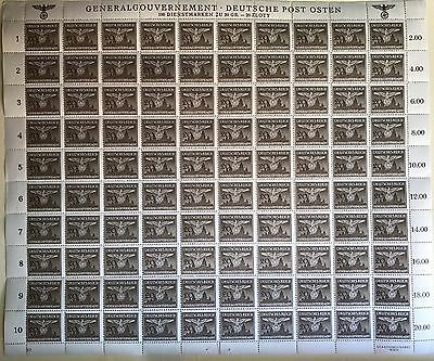 Germany WW2 Third Reich General Government Stamps. Sheet Of 100, Rare