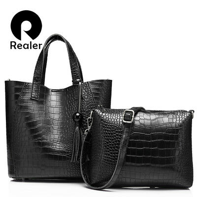 06347b067652 Realer Brand 2 Pcs Women s Bag Large Handbag Tassel Leather Tote Purse  Rhnwb0903