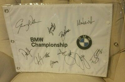 Autographed Signed BMW Championship Flag. Dustin Johnson, Adam Scott and more.
