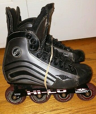Black MISSION Helium Hi-Lo He150 Roller Hockey Inline Roller Skates Youth Size 5