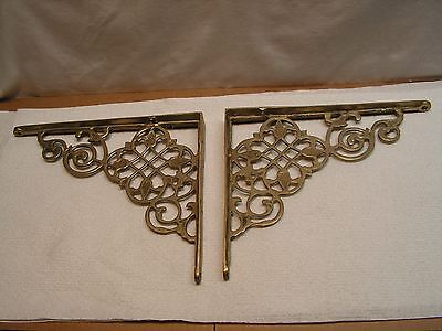 Vtg Pair Brass Metal Wall Shelf Brackets ~Ornate~9.5 X 7 7/8 X 1 At Corner~