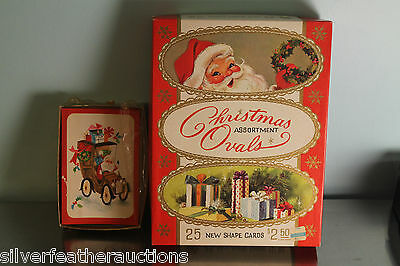 VTG Christmas Assortment of Shaped, Foil Cards in original box + 1 Box of Santa