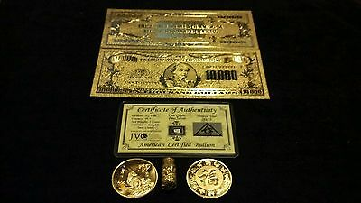 ~4Pc.LOT~.999 GOLD$10,000 BANKNOTE REP.* WITH 5 GRAIN SILVER BAR~FREE.SHIPPING~