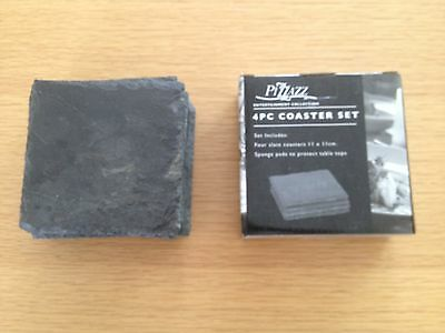 12 Slate Coasters - 8 used and one box with 4 new coasters