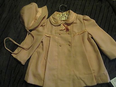 Vintage Infant Girl's Pink Coat with Bonnett Size 2, Union Made in USA.