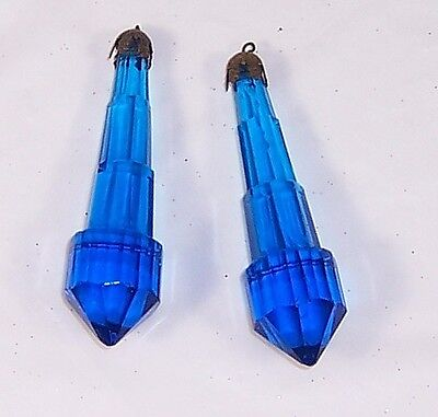 2 Vintage Colbalt Blue Lamp Crystals, Chandelier Prisms