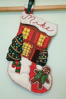 VTG HANDMADE Completed Sequins Beads Felt Christmas Stocking Personalized MIKE