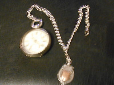 silver mens pocket watch and fob chain - 180 grams weight