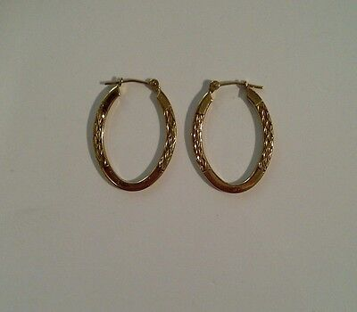 9ct Yellow Gold. Vintage - Stunning & Unique - Etched Hoop Earrings - 2.6cm Drop