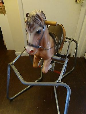 Vintage Blazon 1963 Rocking Horse Plastic Blow Mold Spring Bouncing Ride On Toy