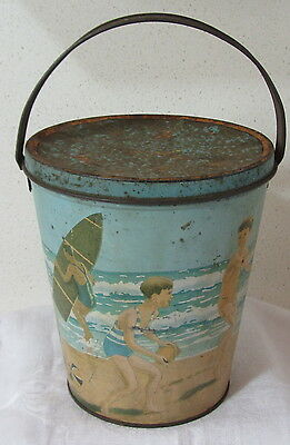 RARE Arnotts Beach Bucket Biscuit Tin c1932 PRICE REDUCED CURRENT LISTING ONLY