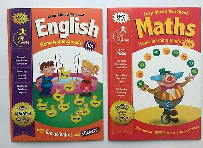 LeapAhead English & Maths Learning Workbook Pack Children Age 6-7 KS1 Year 2