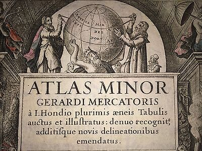 1634 Frontispiece from Hondius' And Jansson's Revised 1607 Mercator Pocket Atlas