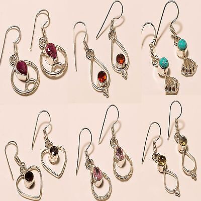 Wonderful Mix Stone 6 Pc Silver Plated Wholesale Earring Lot  M0238