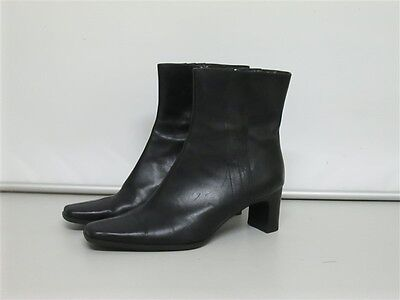 Smart Black Leather Sandler Ankle Boots Fits Size 11B