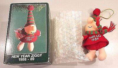 Vintage 1988 NEW YEAR ZIGGY American Greetings Holiday Christmas Tree Ornament