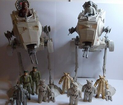 Vintage Star Wars 2 x AT-ST's  with 10 figures