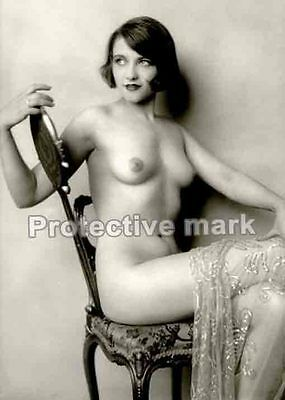 Bared on a chair NUDE ART Erotic old PHOTO REPRINT
