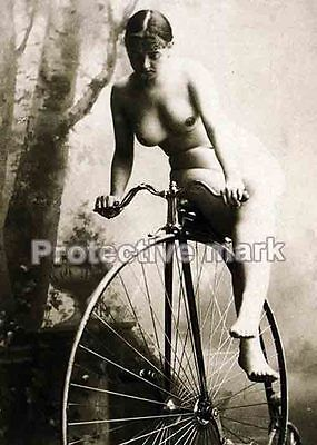 Bared on bicycle NUDE ART Erotic old PHOTO REPRINT