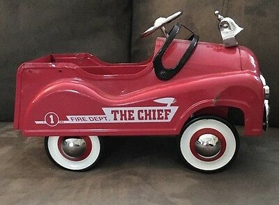 Vintage Rare 1 Eng. Fire Dept. The Chief Truck Red Solid Metal