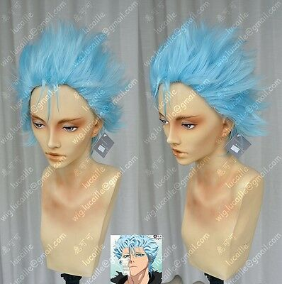 Bleach Grimmjow Blue Short Need Styled Anime Cosplay Costume Wig+ Free CAP