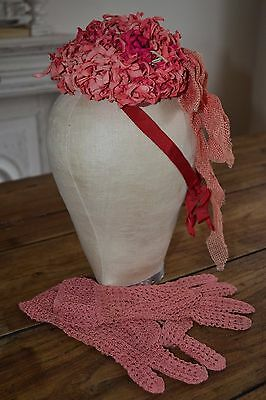 antique french hat/ bonnet and crochet gloves pretty exquisite rare.