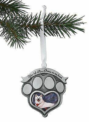 Pet Memorial Photo Ornament - Paw Prints on My Heart - Paw Christmas Ornament