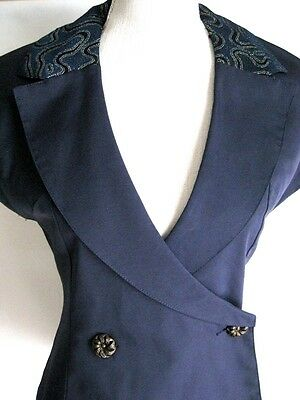 Vintage 1980s Top Navy Blue Black Gold Collar Antique Buttons S