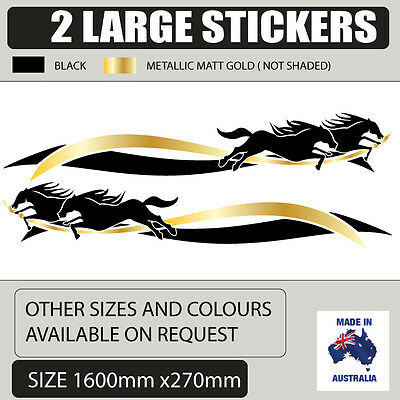 Popular Horse float trailer stickers in Black and gold 1600mm wide  design 004 d