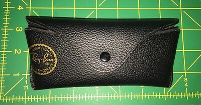 Ray Ban Case Sunglasses Black Leather Eyeglasses Pouch Semi-Hard By Luxottica