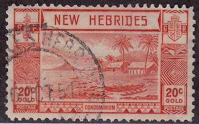 NEW HEBRIDES BRITISH Used Scott # 53 Beach & Volcano (1 Stamp) -3