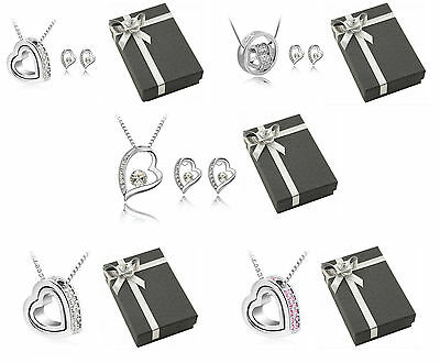 Crystal Silver Heart Bridal Jewellery Set Earrings and Necklace with gift box.
